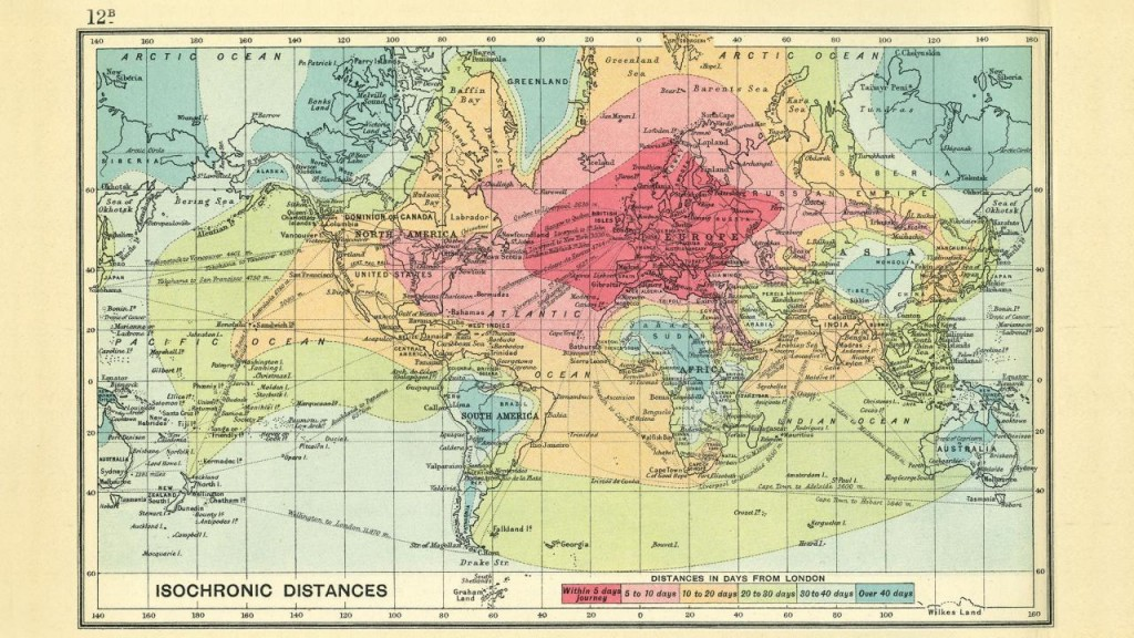 The isochronic map of the world, in 1914